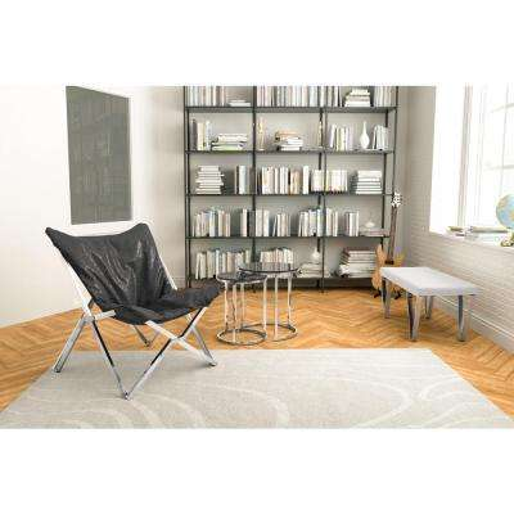 Sunk Black Leatherette Lounge Chair