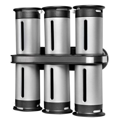 Zero Gravity 6-Canister Wall-Mount Magnetic Spice Rack in Metallic/Gray