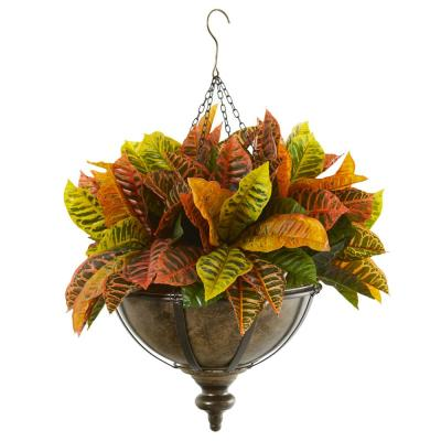 26 in. Garden Croton Artificial Plant in Hanging Metal Bowl (Real Touch)