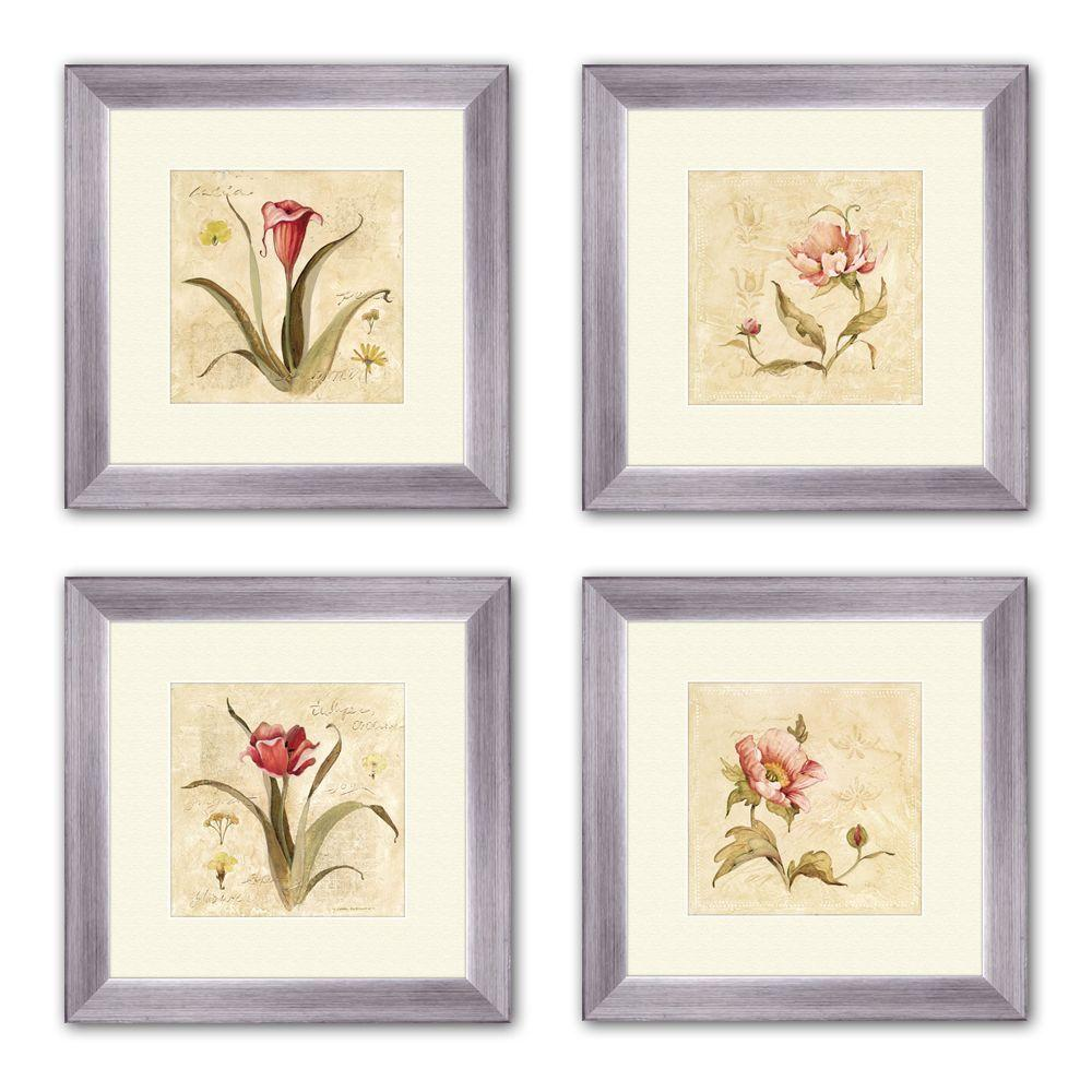 "PTM Images 14 in. x 14 in. ""Perfect Flower"" Matted Framed Wall Art (Set of 4)"
