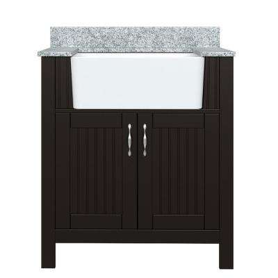 Mason 31 in. W x 19 in. D Bath Vanity in Coffee Bean with Granite Vanity Top in Viscont White with White Farmhouse Sink