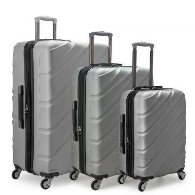 Gilmore 3-Piece Silver Expandable Hardside 4-Wheel Spinner Luggage Set with Push-Button Handle System