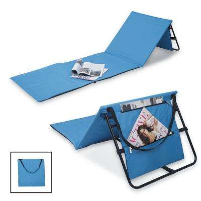 Portable Blue Beach Lounge Chairs with Pockets and Carry Straps (Set of 2)