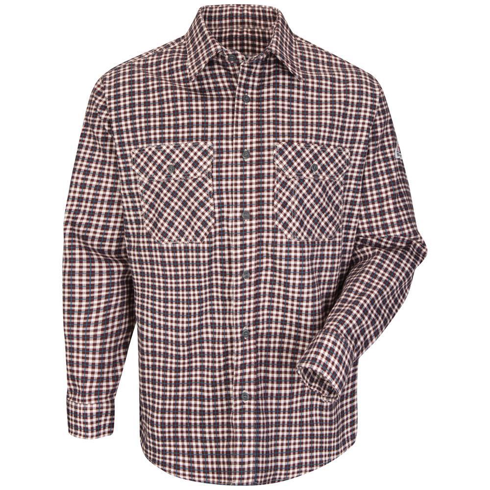 EXCEL FR ComforTouch Men's 2X-Large (Tall) Burgundy/Teal Plaid Plaid Uniform Shirt