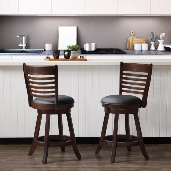 CorLiving Woodgrove 25 in. Counter Height Wood Swivel Barstools with Black