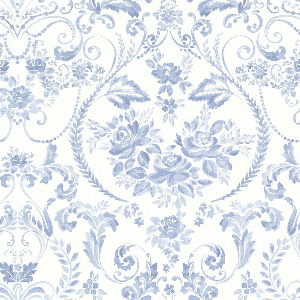 Brewster Canne Blue Floral Wallpaper 2686 22031 The Home Depot