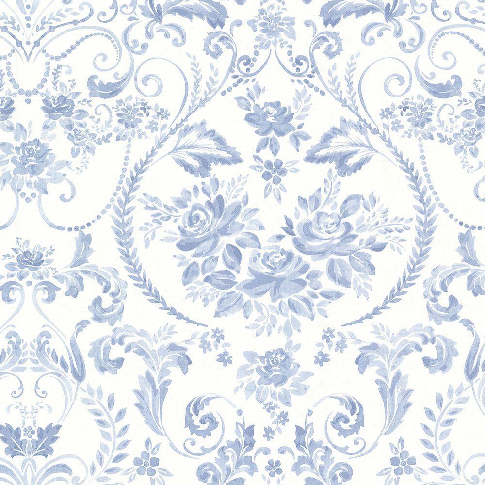 Brewster Canne Blue Floral Wallpaper Sample