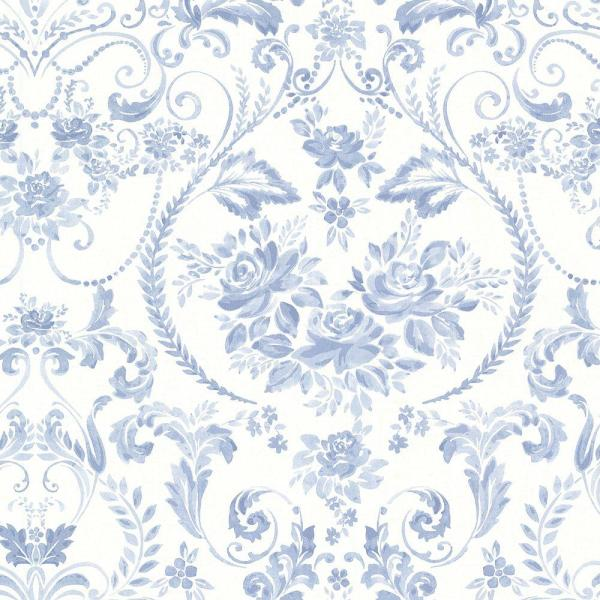 Brewster Canne Blue Floral Wallpaper Sample 2686-22031SAM