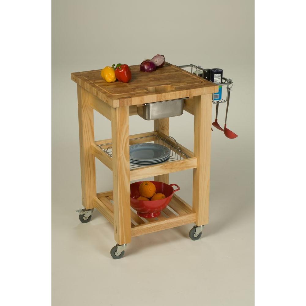 Chris & Chris Pro Chef Espresso Kitchen Cart With Storage-JET1226 ...