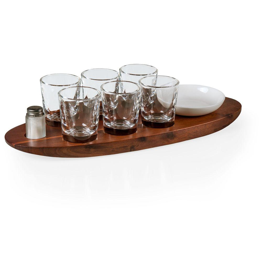 PicnicTime Picnic Time Cantinero Shot Glass Serving Tray, Brown