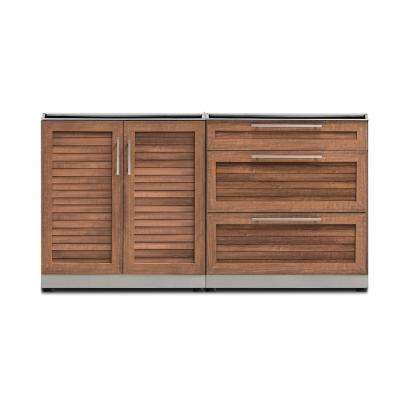 Natural Cherry 2-Piece 64 in. W x 36.5 in. H x 24 in. D Outdoor Kitchen Cabinet Set without Countertop