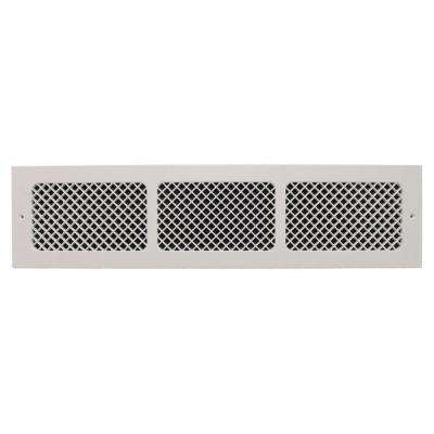 Essex Base Board 6 in. x 30 in. Opening, 8 in. x 32 in. Overall Size, Polymer Resin Decorative Return Air Grille, White