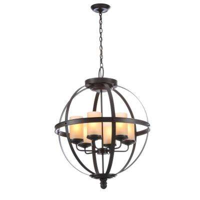 Sfera 24.5 in. W. 6-Light Autumn Bronze Chandelier with Cafe Tint Glass