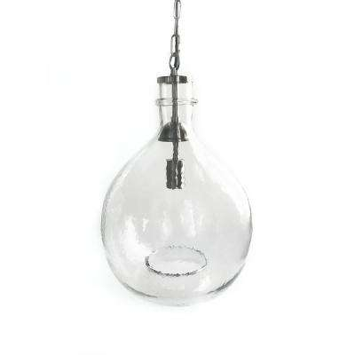 21 in. H and 13 in. W 1-Light Silver Wavy Hammered Hand Blown Glass Pendant with Clear Glass Shade