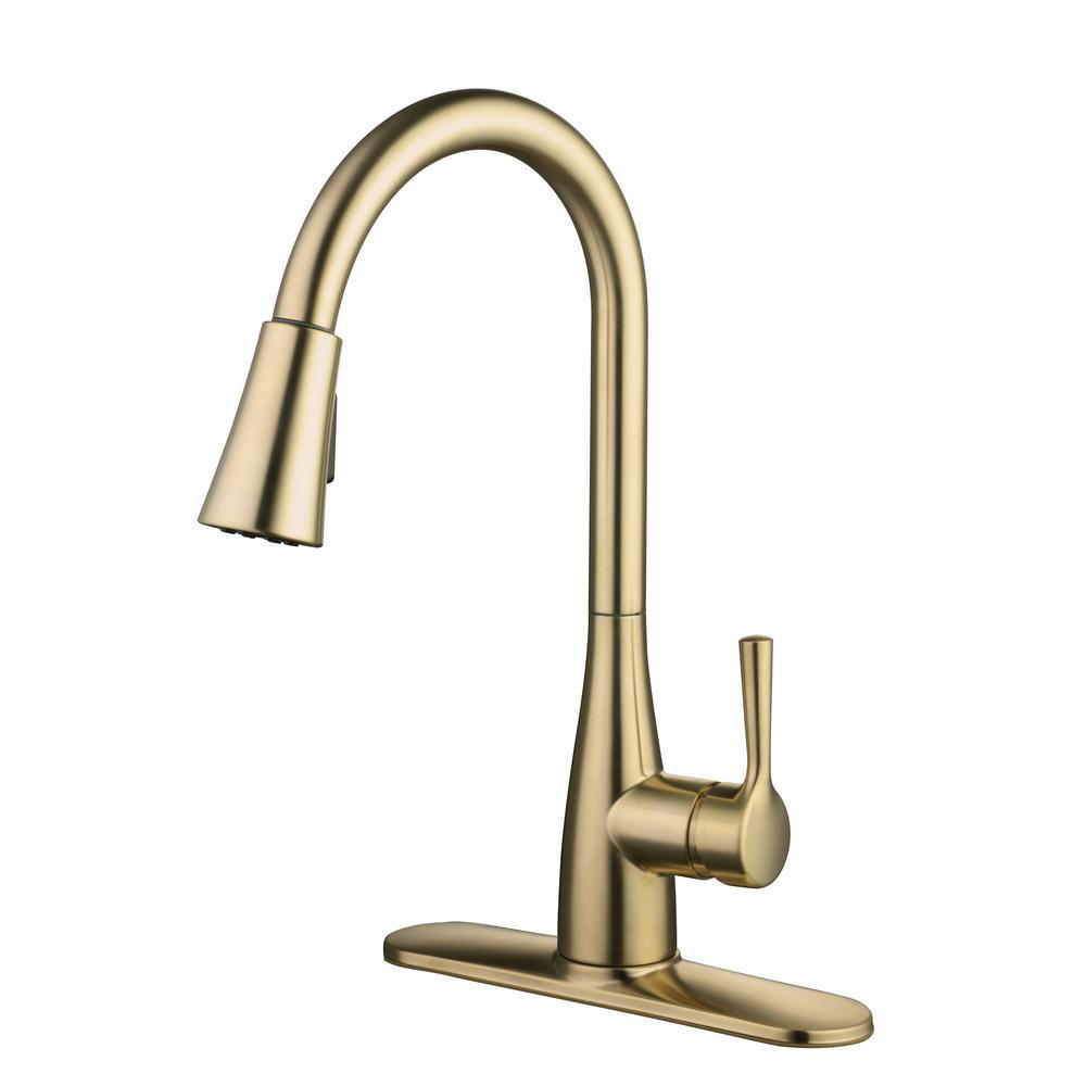 Sadira Single-Handle Pull-Down Sprayer Kitchen Faucet in Matte Gold