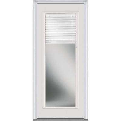 34 in. x 80 in. Internal Mini Blinds Left-Hand Inswing Full Lite Clear Primed Fiberglass Smooth Prehung Front Door
