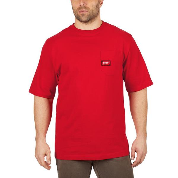 Men's Large Red Heavy Duty Cotton/Polyester Short-Sleeve Pocket T-Shirt
