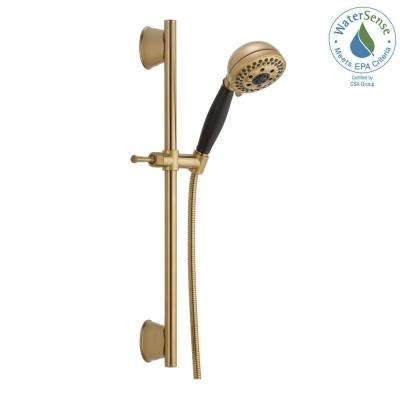 H2Okinetic 5-Spray Handheld Showerhead with Slide Bar and Pause in Champagne Bronze