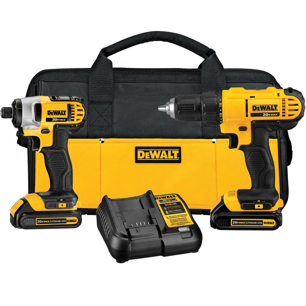 DeWalt DEWALT 20-Volt MAX Lithium-Ion Cordless Drill/Driver and Impact Combo Kit (2-Tool) with (2) Batteries 1.3Ah, Charger and Bag