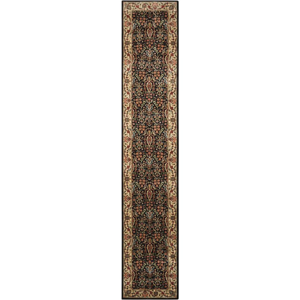 Persian Arts Black 2 ft. x 12 ft. Runner Rug