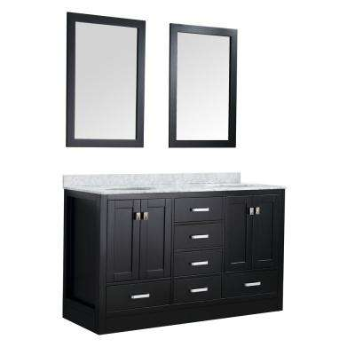 Chateau 60 in. W x 36 in. H Skirted Bath Vanity in Black with Vanity Top in Carrara White with White Basins and Mirrors