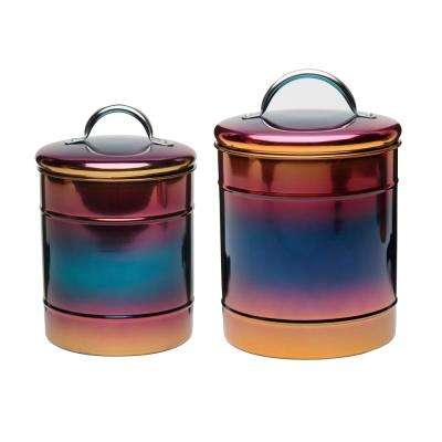 Rainbow 2-Piece Metal Storage Canister Set with Iridescent