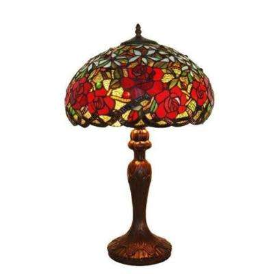 24 in. Tiffany Style Red Roses Table Lamp
