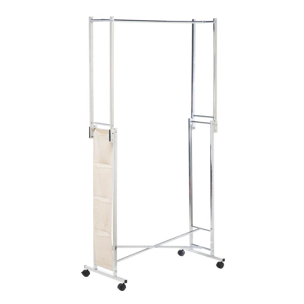 honey can do steel double folding square tube garment rack gar 01433 the home depot. Black Bedroom Furniture Sets. Home Design Ideas