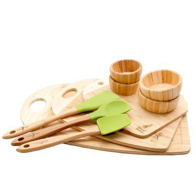 Bamboo and Silicone Utensil and Cutting Board 10-Piece Combo Set