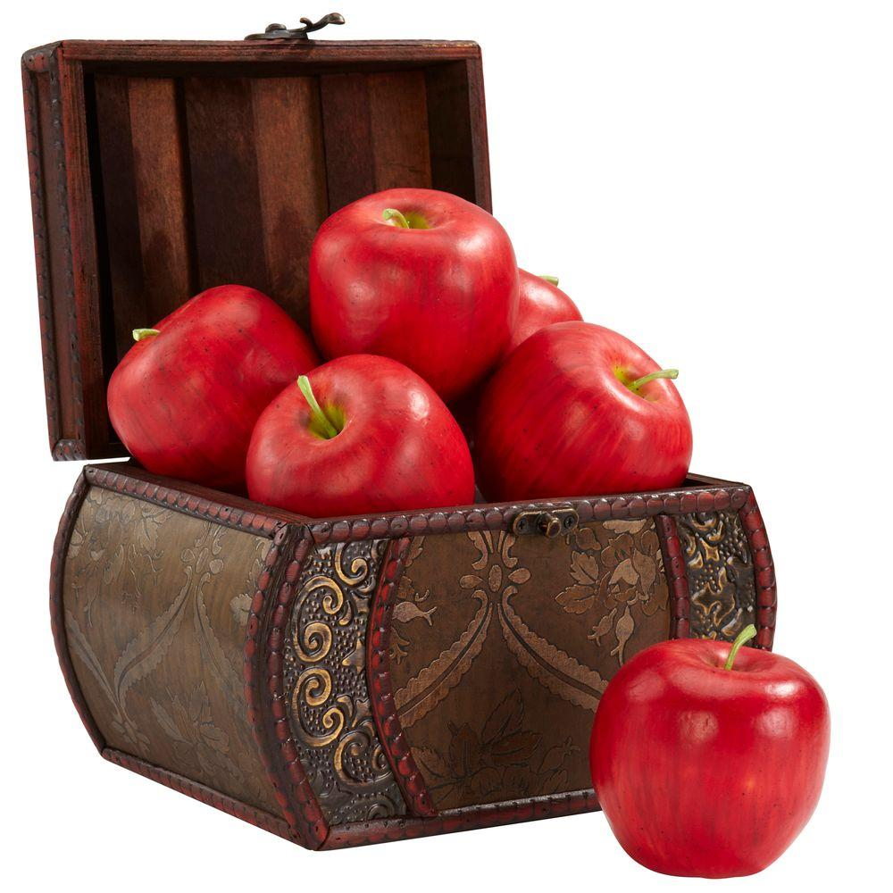Nearly Natural 3.5 in. H Red Faux Apple (Set of 6)
