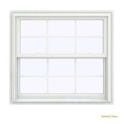 39.5 in. x 35.5 in. V-2500 Series White Vinyl Double Hung Window with Colonial Grids/Grilles
