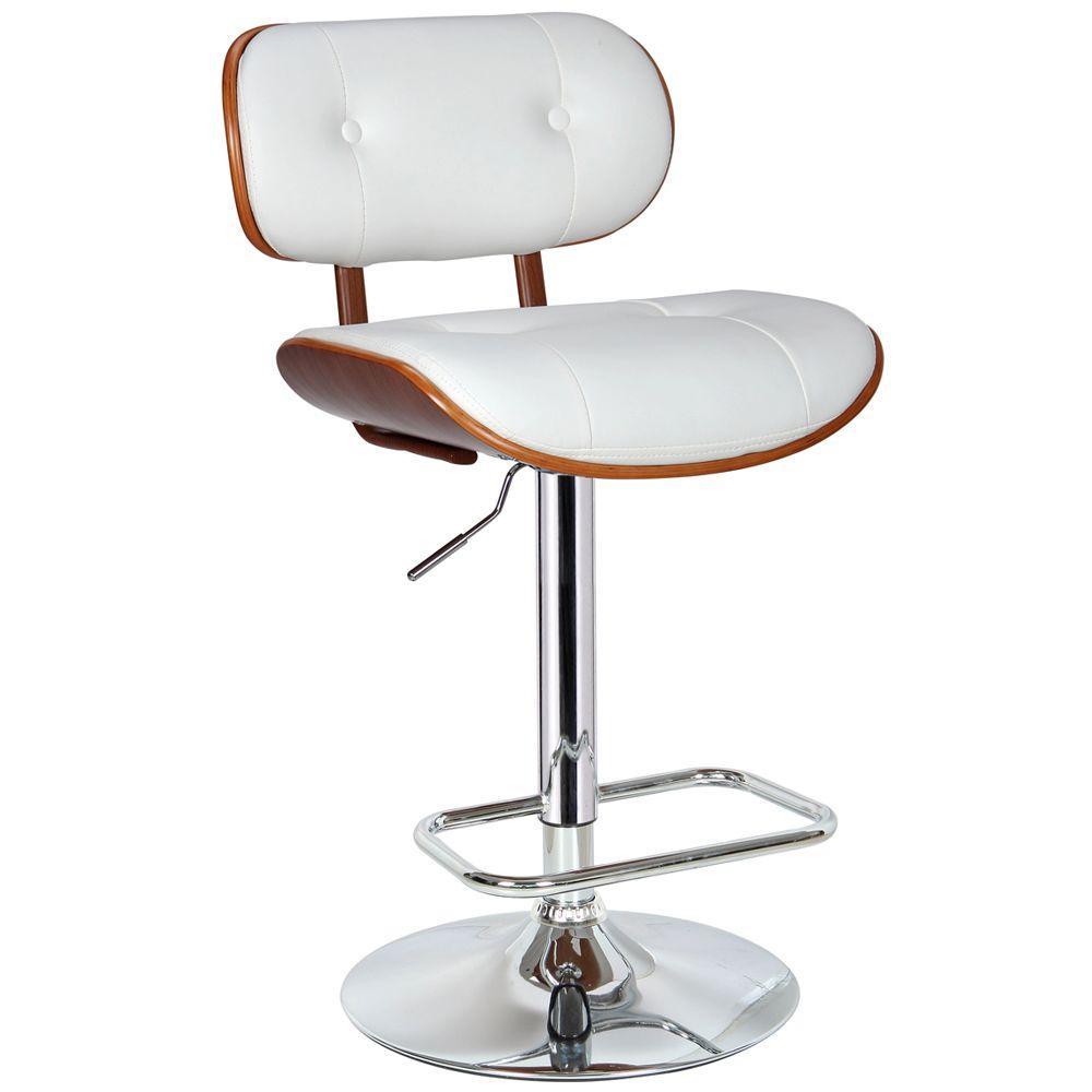 Smuk Adjustable Height White Swivel Cushioned Bar Stool