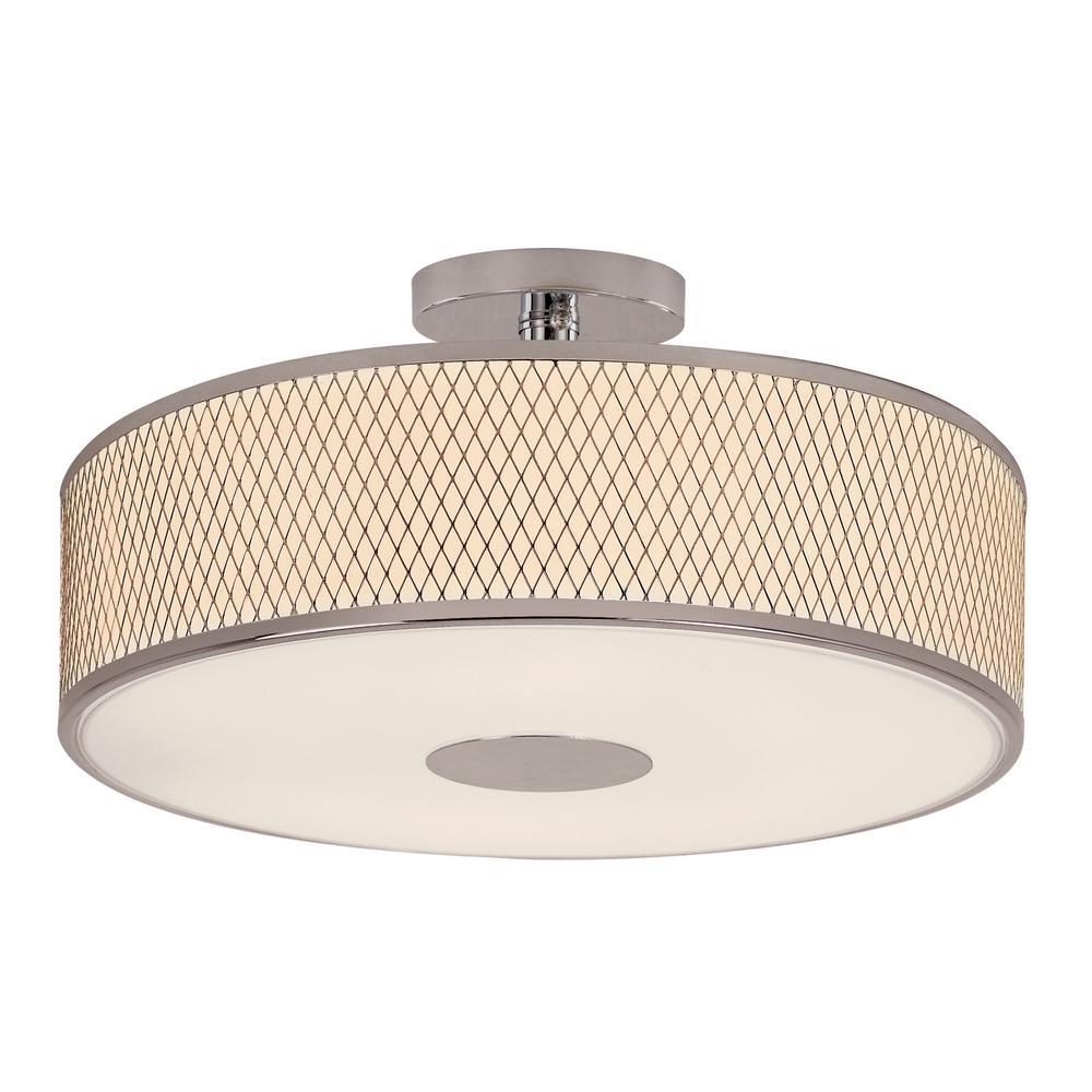 Cardiff 4-Light Polished Chrome Semi-Flush Mount with White Acrylic Drum Shade