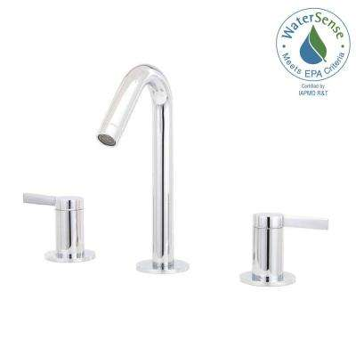 Stillness 8 in. Widespread 2-Handle Mid-Arc Water-Saving Bathroom Faucet in Polished Chrome