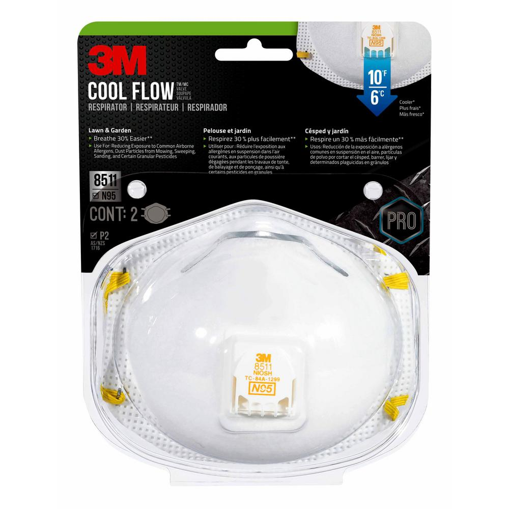 3M N95 Lawn and Garden Valved Respirator Dust Mask (2-Pack)