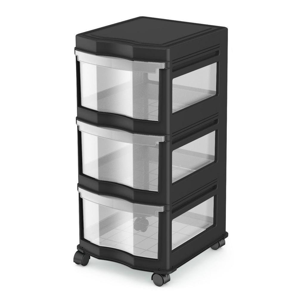 13.2 in. H  x 27.75 in. W x 15.5 in. D Classic 3 Shelf Storage Organizer Plastic Drawers Black (4-Pack)