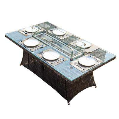 Turnbury 39.4 in. x 70.8 in. Propane Rectangular Wicker Gas Fire Pit Table with Tempered Glass Surround