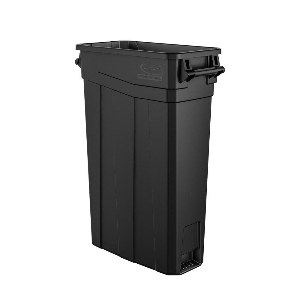 Suncast Commercial TCNH2030BK Narrow Trash Can With Handles, 30.00u0022 Height x 11.08u0022 Width, 23 gal Capacity, Black