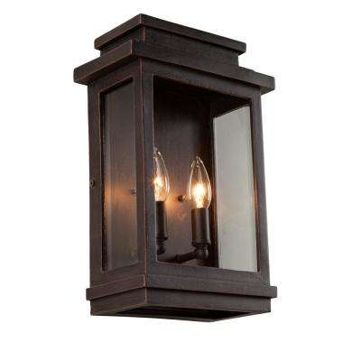2-Light Oil Rubbed Bronze Outdoor Wall Mount Sconce