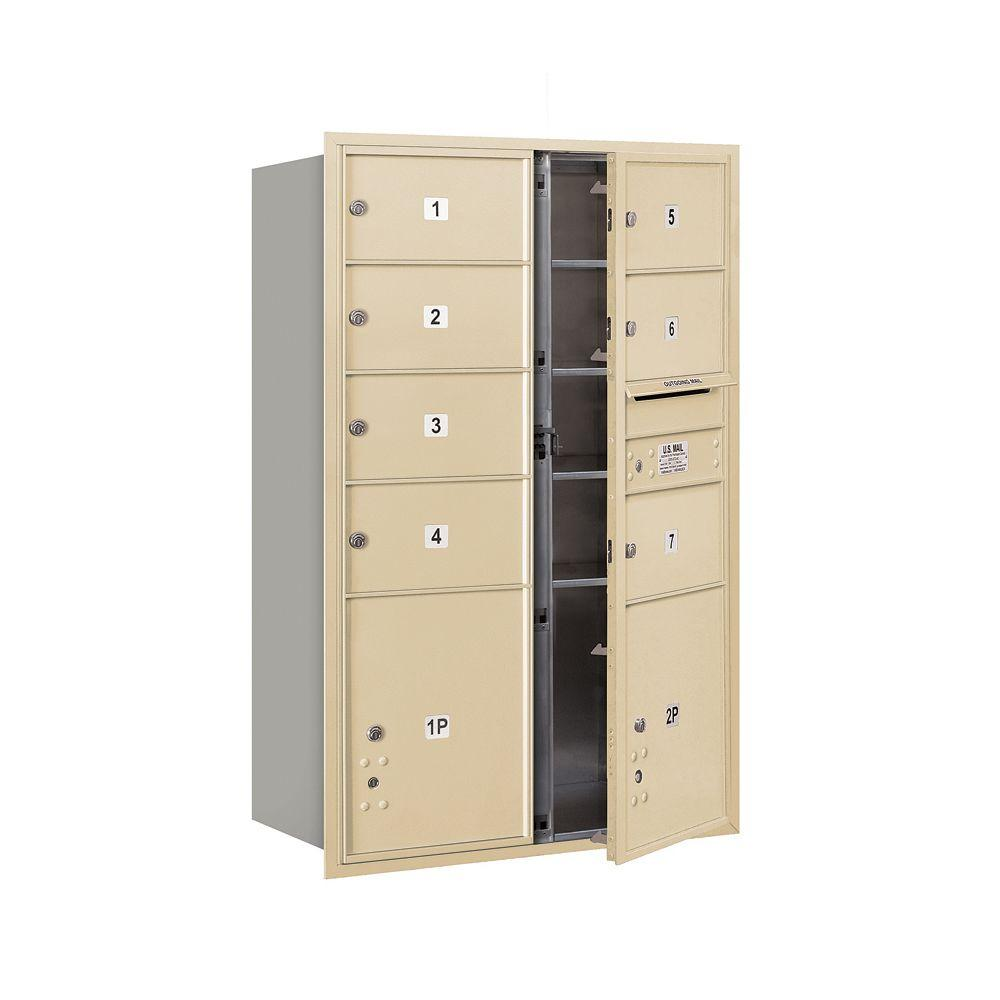 Salsbury Industries 3700 Series 48 in. 13 Door High Unit Sandstone USPS Front Loading 4C Horizontal Mailbox with 7 MB2 Doors and 2 PL5's
