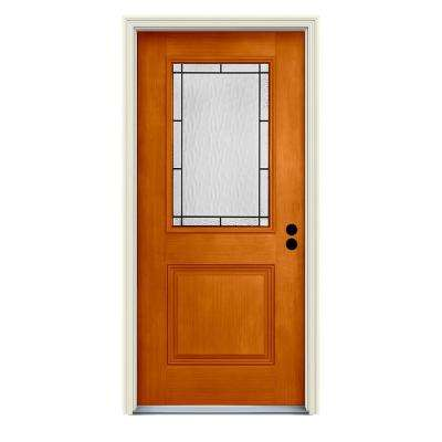 36 in. x 80 in. Left-Hand 1/2-Lite Wendover Saffron Stained Fiberglass Prehung Front Door with Brickmould