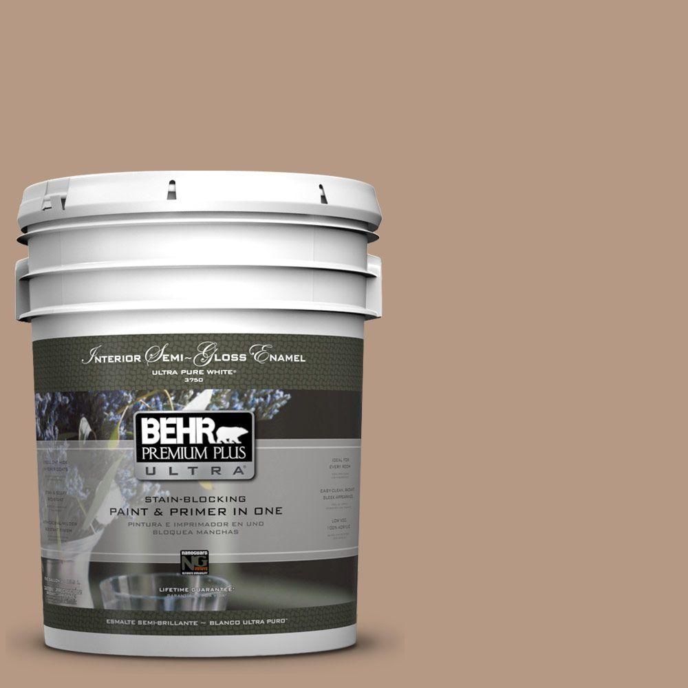 5-gal. #250F-4 Stone Brown Semi-Gloss Enamel Interior Paint