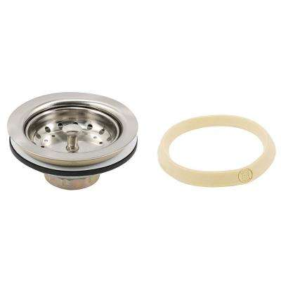 Basket Strainer Stainless Steel Post 3-1/2 in. to 4 in. Satin Nickel with Putty