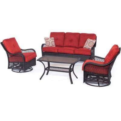Captivating Orleans 4 Piece All Weather Wicker Patio Deep Seating Set With Autumn Berry  Cushions