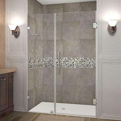 Nautis GS 51 in. x 72 in. Frameless Hinged Shower Door in Stainless Steel with Glass Shelves