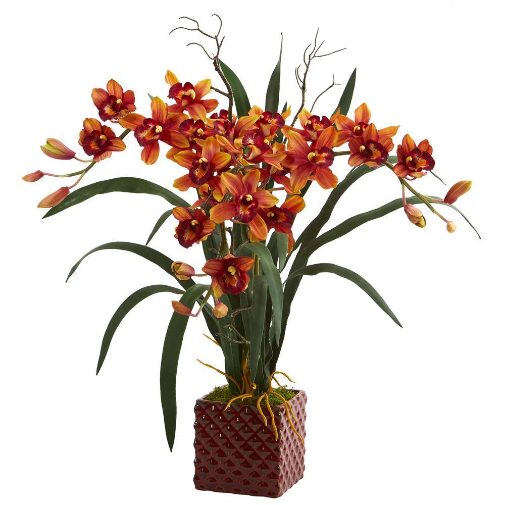 Indoor 29 in. Cymbidium Orchid Artificial Arrangement in Red Vase
