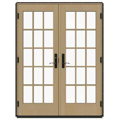 60 in. x 80 in. W-4500 Black Prehung Right-Hand Inswing French Patio Door with Contemporary Frame