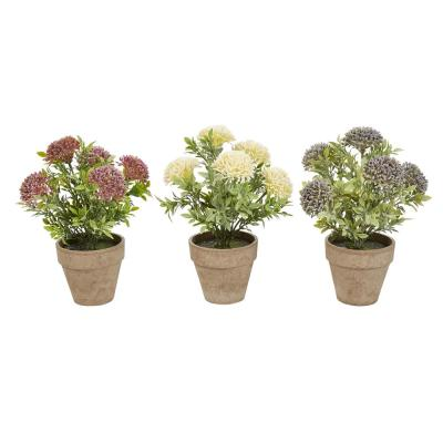 10 in. Assorted Faux Flower Arrangement (Set of 3)