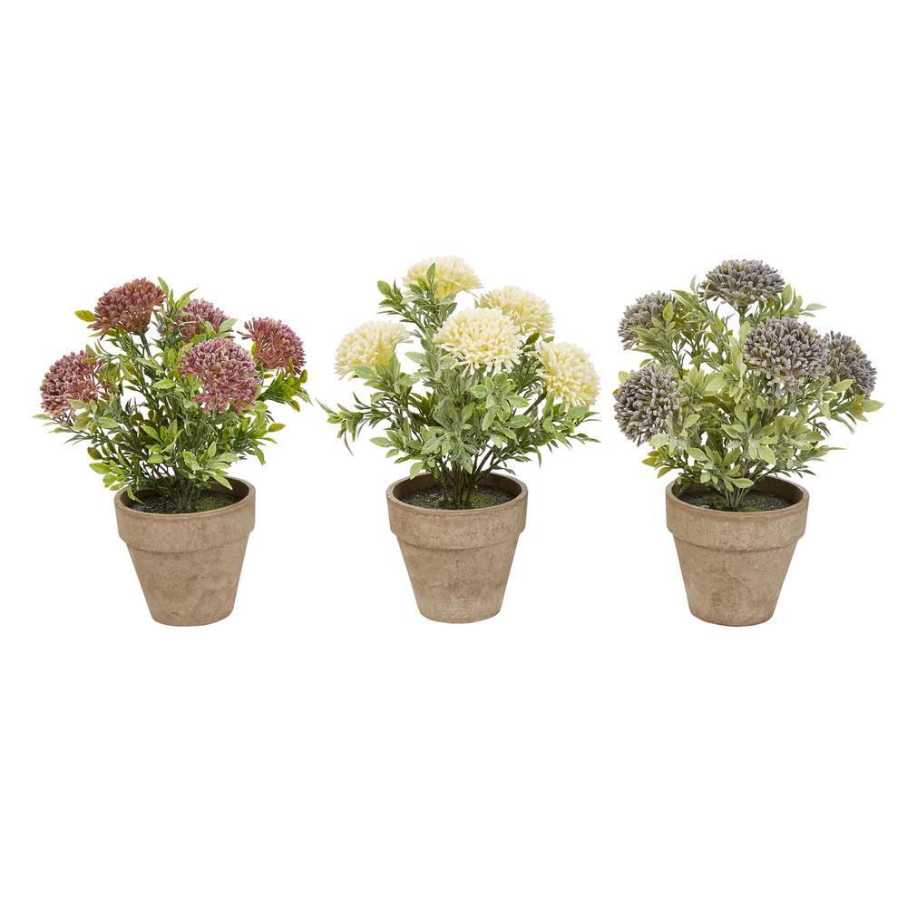 10 in. Assorted Faux Flower Arrangement (Set of 3)