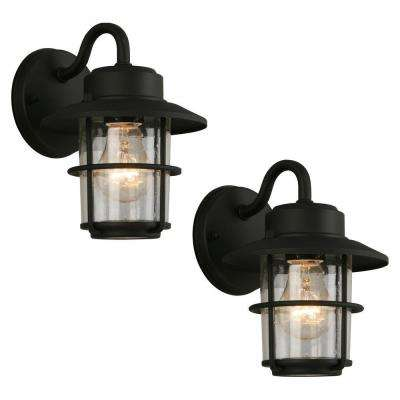 1-Light Black Outdoor Wall Lantern Sconce (2-Pack)